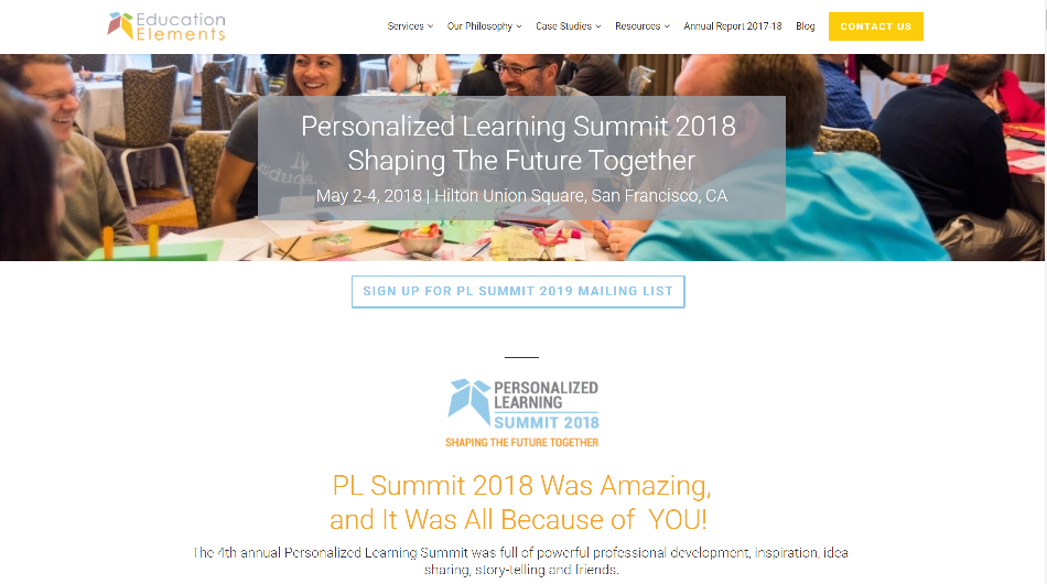 Personalized Learning Summit 2018 | San Francisco, CA May 2 @ 09:00 - May 4 @ 18:00 EDT