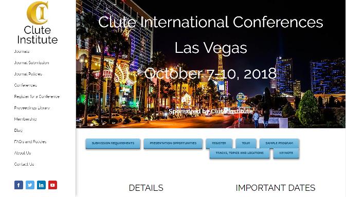 2018 Clute International Conferences Las Vegas