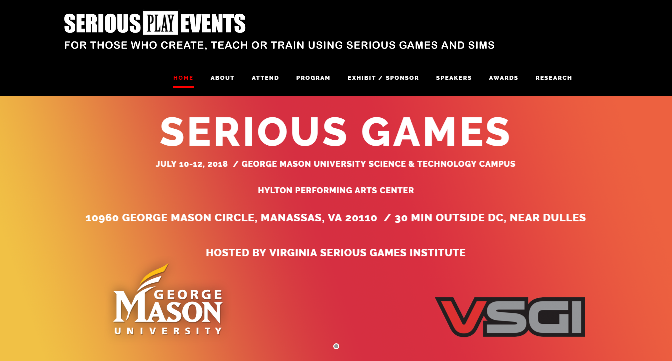 Serious Games Conference DC 2018