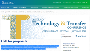 AACRAO's Technology & Transfer Conference 2019 Las Vegas, NE