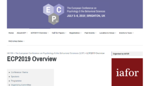 ECP 2019 The European Conference on Psychology & the Behavioral Sciences Brighton, UK