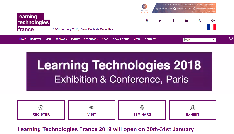 Learning Technologies France conference and fair January 2019 Paris France