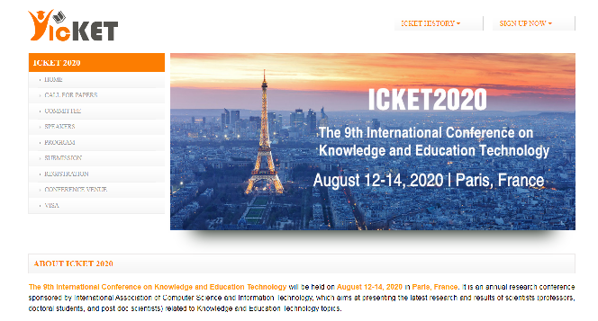International Conference on Knowledge and Education Technology 2020