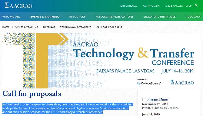 AACRAO's Technology & Transfer Conference 2019 Las Vegas, NE