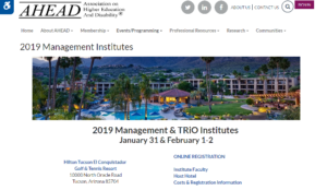 AHEAD 2019 Management & TRiO Institutes Tucson, AZ