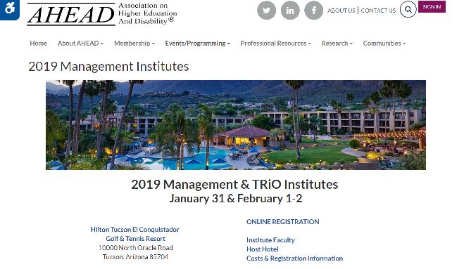 AHEAD 2019 Management & TRiO Institutes Tucson, AZ