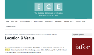 ECE 2019 The European Conference on Education London, UK