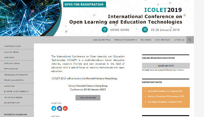 ICOLET2019International Conferaence on Open Learning and Education Technologies Hong Kong