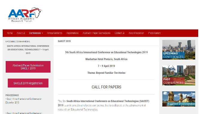 SAICET 2019 South Africa International Conference on Educational Technologies Pretoria, South Africa