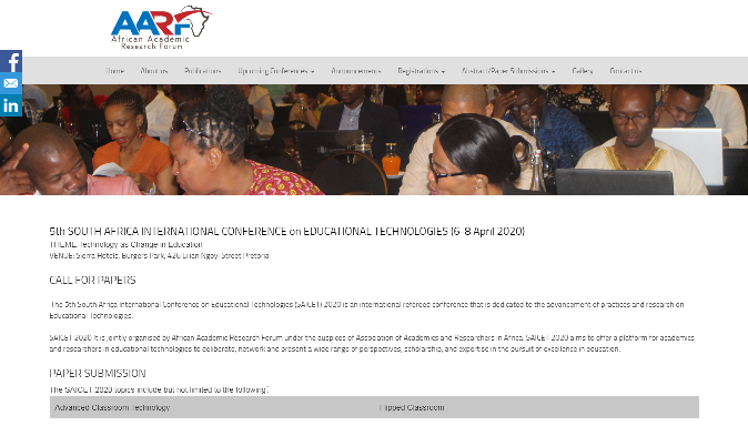 SOUTH AFRICA INTERNATIONAL CONFERENCE on EDUCATIONAL TECHNOLOGIES 2020